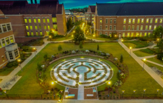 Aerial photograph of the Labyrinth at Florida State University at night.